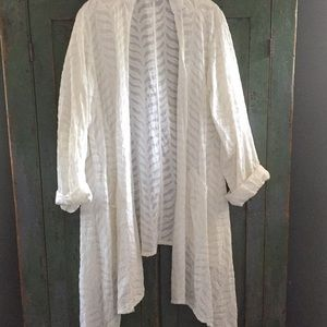 White cotton light appliqué boho jacket - S M